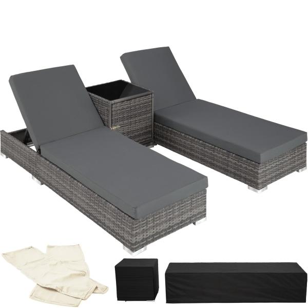 tectake 2 solsängar inkl bord konstrotting aluminium grå