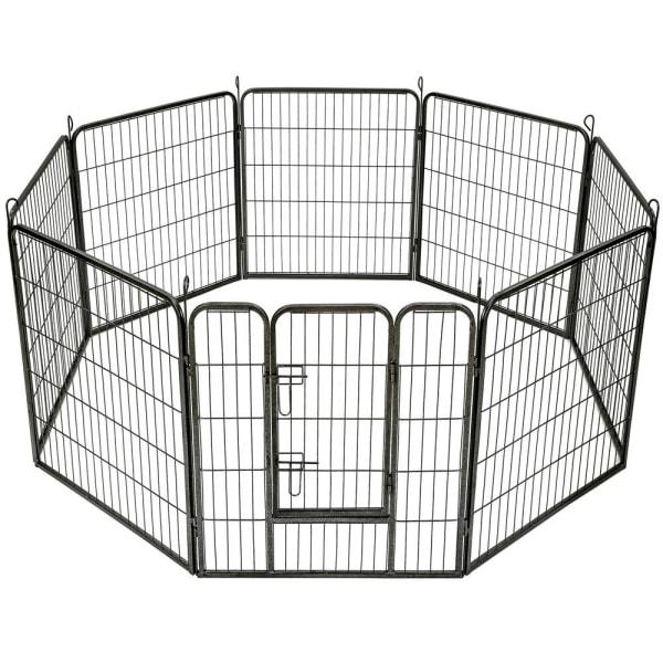 tectake Hundgård 8 hörn - 80 cm grå