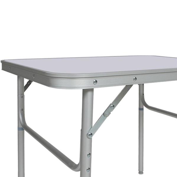 tectake Aluminium campingbord 75 x 55 x 68cm ihopfällbart Silver