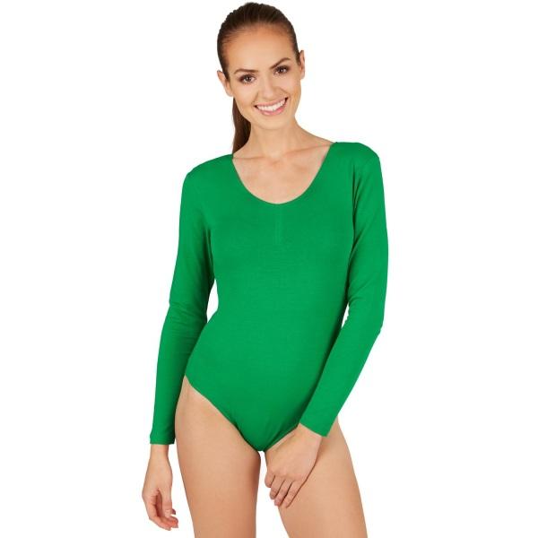 tectake Långärmad dambody med rund hals grön Green S