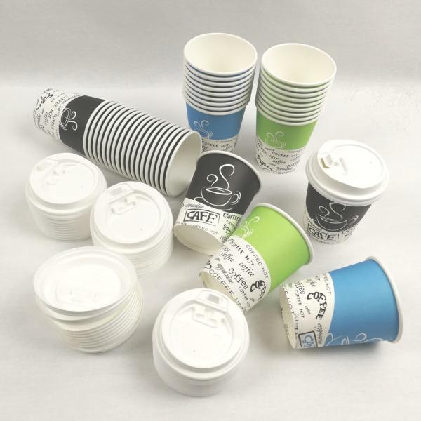 40-Pack Kaffebägare / kaffekoppar / kaffemuggar med lock