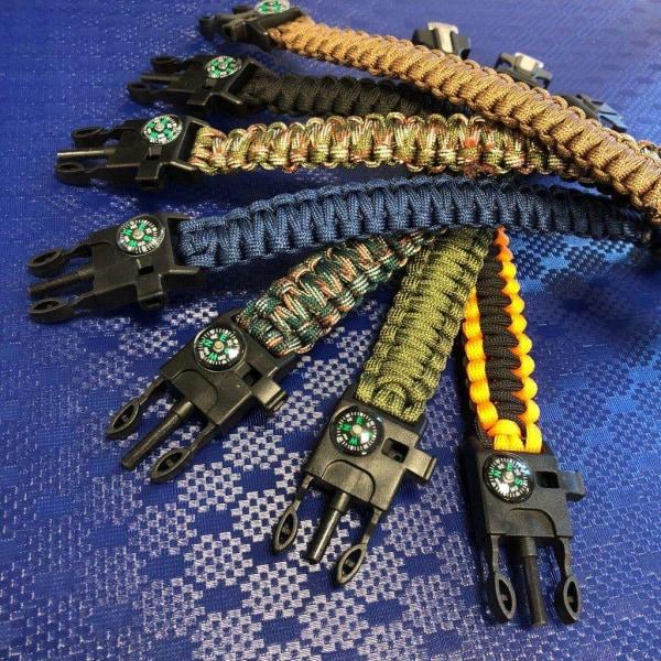Rannekoru Paracord -sytytystulppakompassista ja pilli - sininen blå