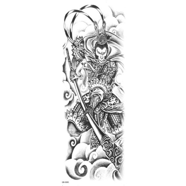 HUOMAUTUS! NÄYTÄ KOKO! Väliaikainen tatuointi-46x17cm soturi