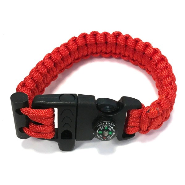 Rannekoru Paracord -sytytystulppakompassista ja pilli - punainen röd