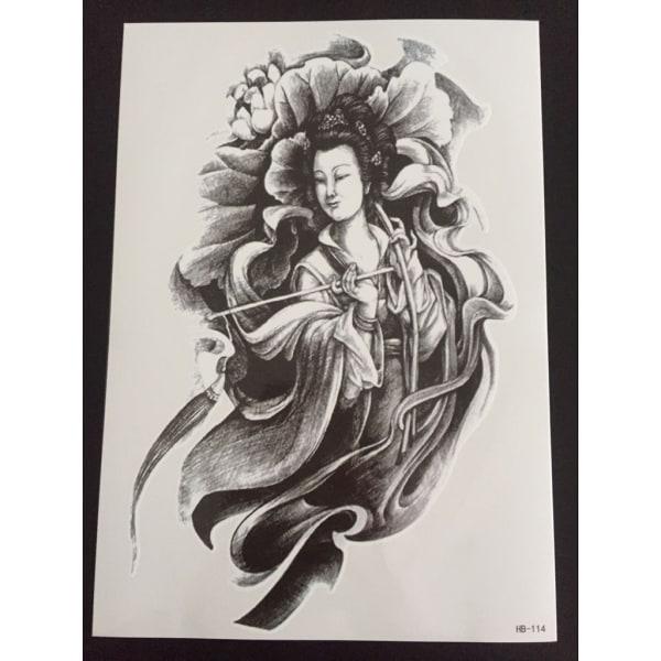 Väliaikainen tatuointi 21 x 15 cm - Geisha