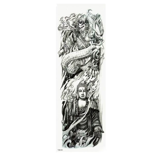HUOMAA KOKO - 46 x 17 CM - Tatuointi - dragon warrior / buddah