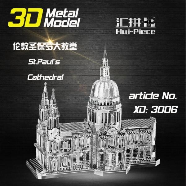 3D Pussel Metall - Exklusiv 3 Ark - Berömda Byggnader - St Pauls