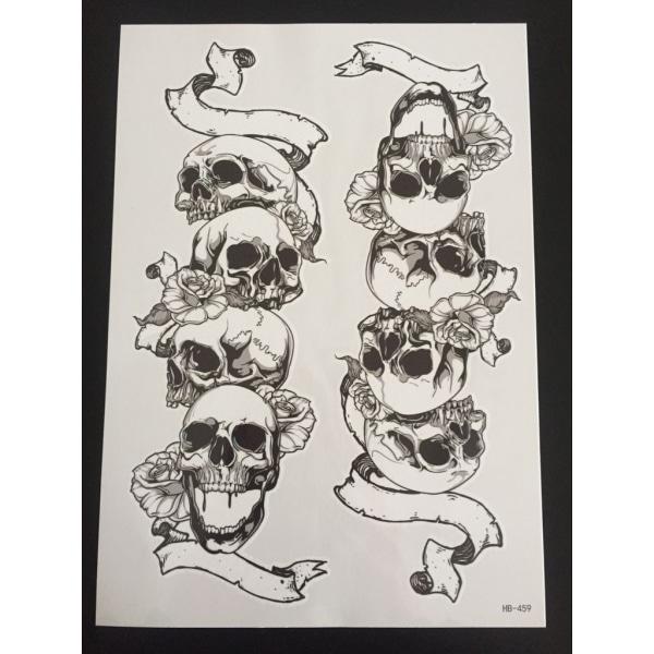 Midlertidig tatovering 21 x 15 cm - kranier