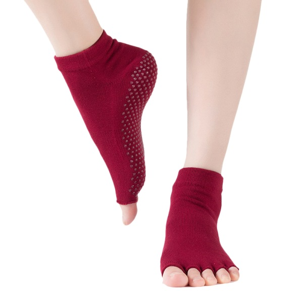 1-5 par kvinnors yogasockor Pilates Barre balett halkfri fem tå Red 1 Pair