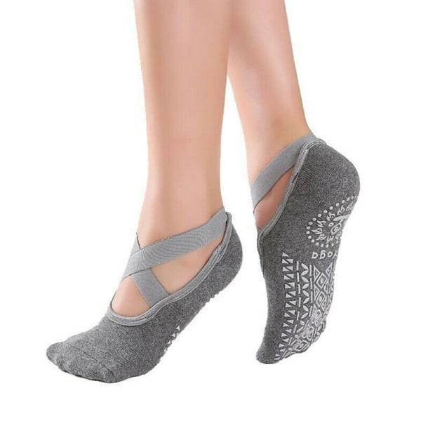 1-5 par Womens Ballet Pilates Yoga Socks Dance Träningsstrumpor Grey 3 Pairs