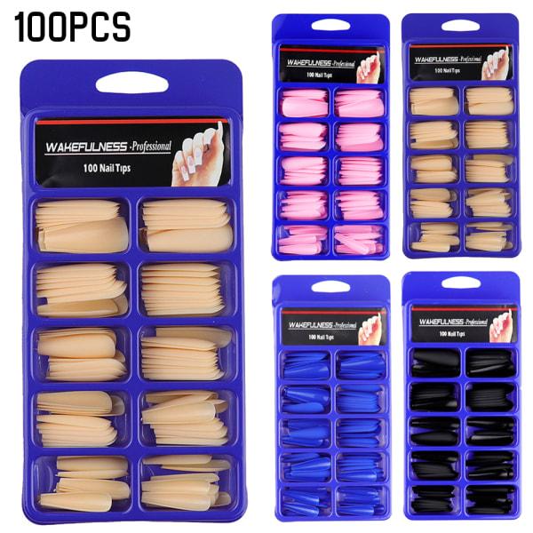 100PCS högkvalitativ matt falsk naglar individuellt förpackade tjejer Blue 100PCS