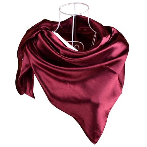 Ren färg Scarf Cup Design tillbehör Satin för kvinnor Wine red