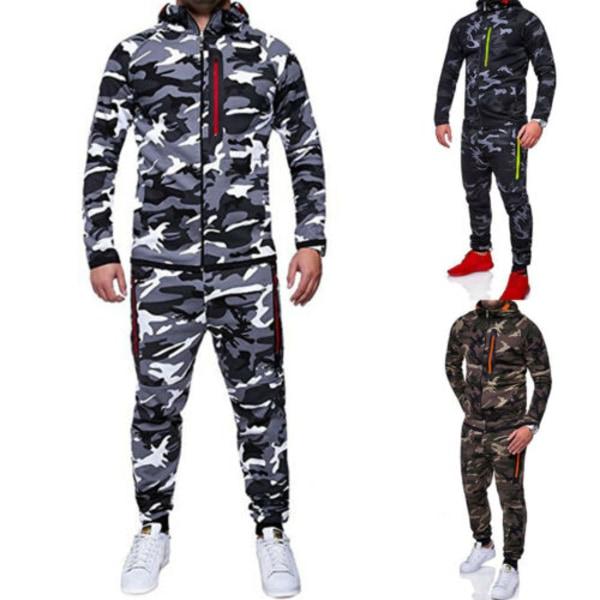 2st Mens Camouflage Träningsdräkt Jogger Fitness Hoodies Byxor Green XL