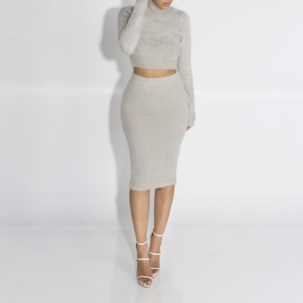 2ST Kvinnors Clubwear Fleece Bodycon Crop Tops Kjol Lounge Set Grey M