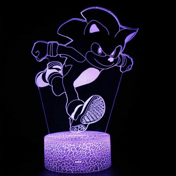 3D-lampa LED SONIC SEGA HEDGEHOG 7 färg nattljus beröringsbord style-2