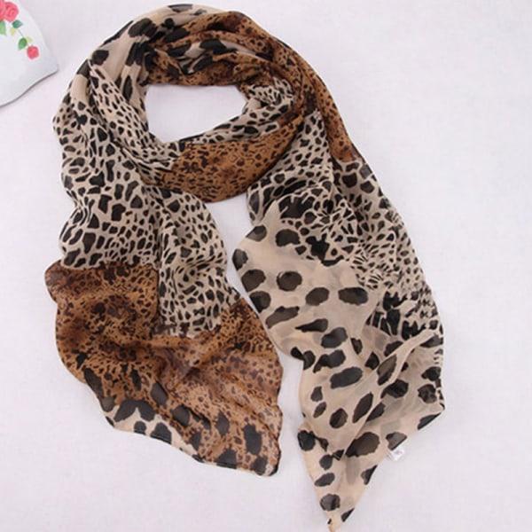 Kvinnamode Leopard mjuk varm silkescarf matchande tjejer Coffee Leopard