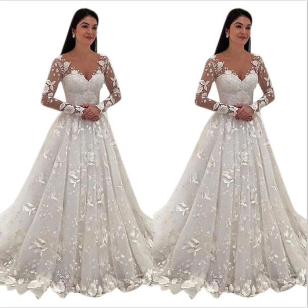 Bröllopsklänning Deep V Långärmad lång kjol ren vit för kvinnor White S