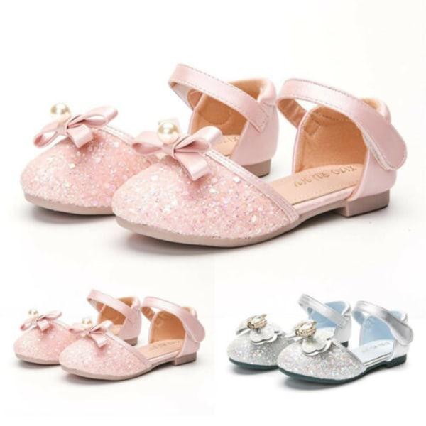 Flickor Paljetterade prinsessskor för barn Bow Flat Shoes Pink 25