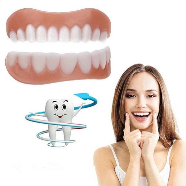 Simulering Silikon hängslen Leende faner Proteser Cover Upper teeth