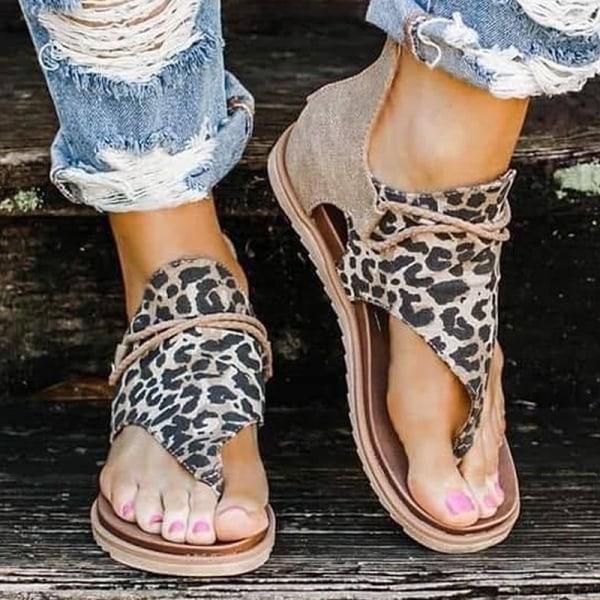 Anti Slip Leapard Retro plywood sandaler Leopard 36