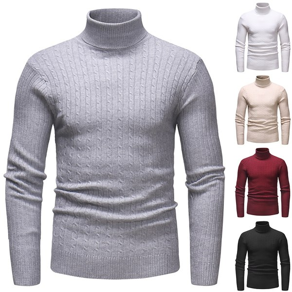 Höst vinter manlig Vintage stickad tröja white L
