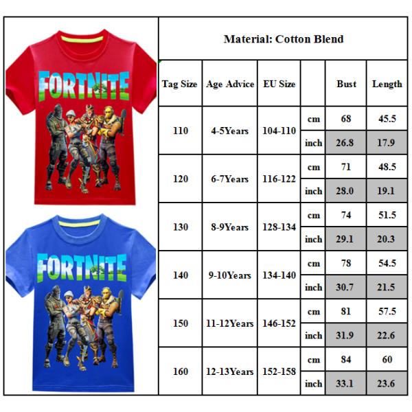 Fortnite T-shirt Crew Neck Casual Kortärmad för barn White 120cm