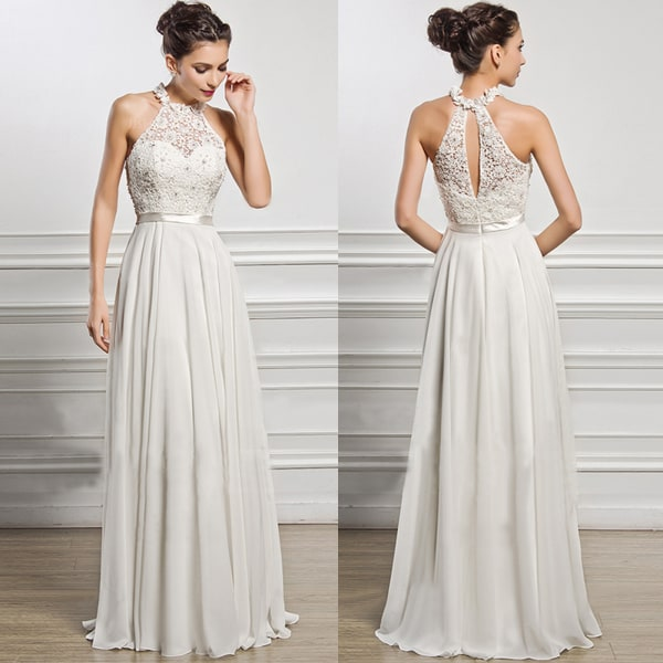 Brud Brudtärna Ärmlös Grimma Bröllopsklänning Vit Elegant White M