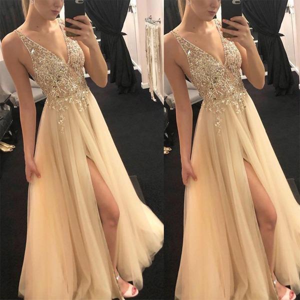 Brudtärna V-ringad ärmlös klänning Lång klänning aftonklänning Golden L