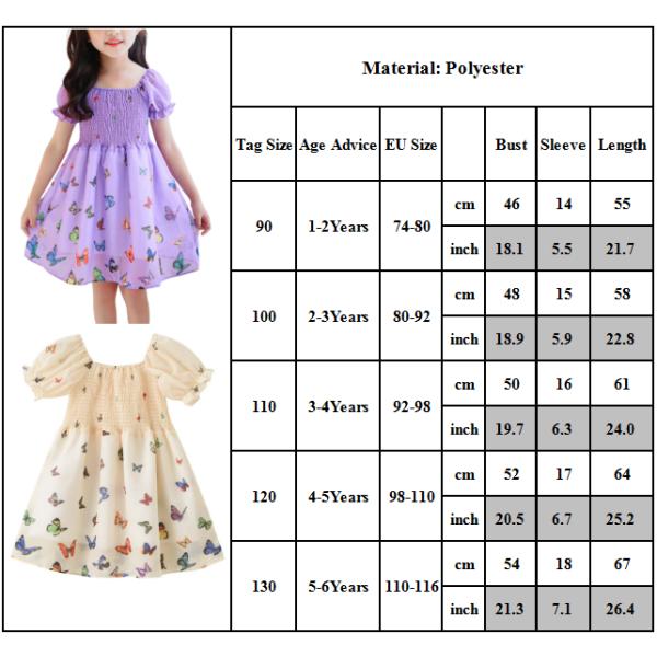 Fjärilstryck Pengpeng-klänning med höga midjerelasticitetsflickor Purple 100CM