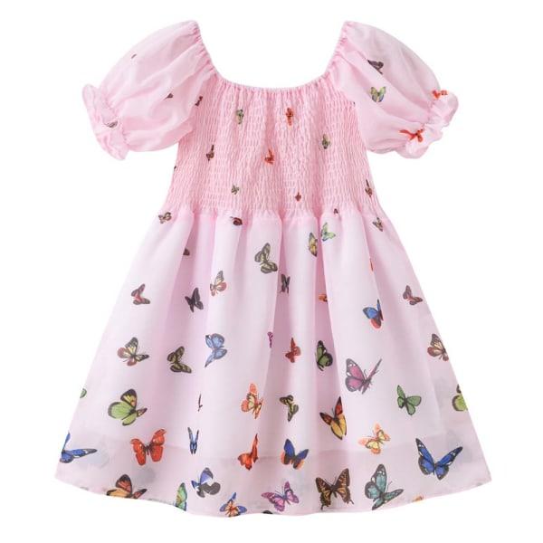 Fjärilstryck Pengpeng-klänning med höga midjerelasticitetsflickor Pink 120CM