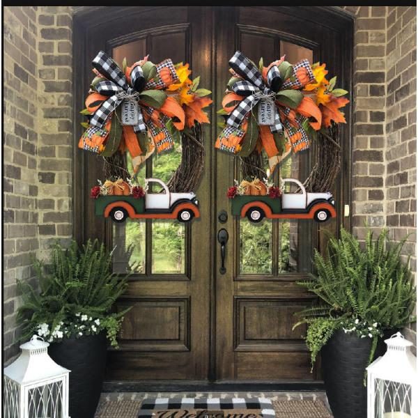 Vintage Pumpkin Truck Wreath Decor Halloween-dekorationer