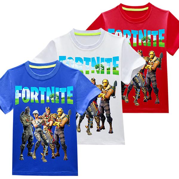 Fortnite T-shirt Crew Neck Casual Kortärmad för barn White 110cm