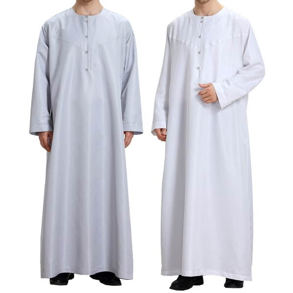 Casual Fit Thobe Abaya Robe Men Long white 2XL