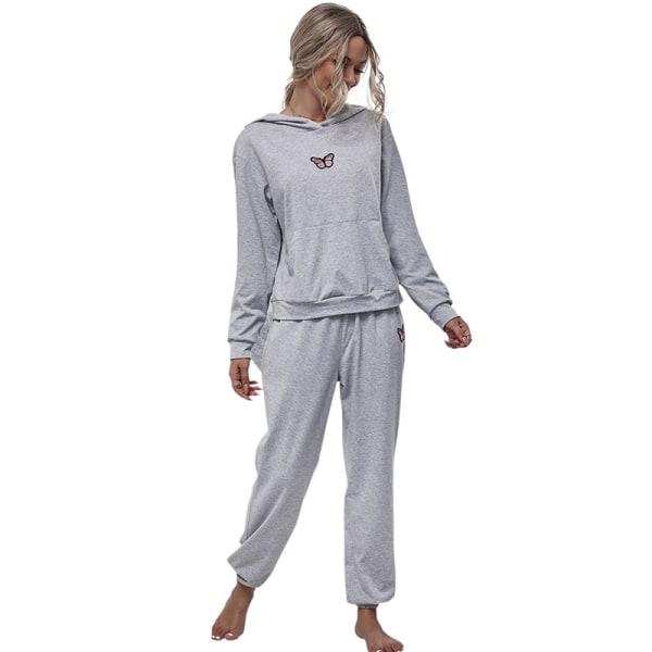 Casual Hooded Loose Sports Suit Tröja Tvådelad Set Kvinna Gray M