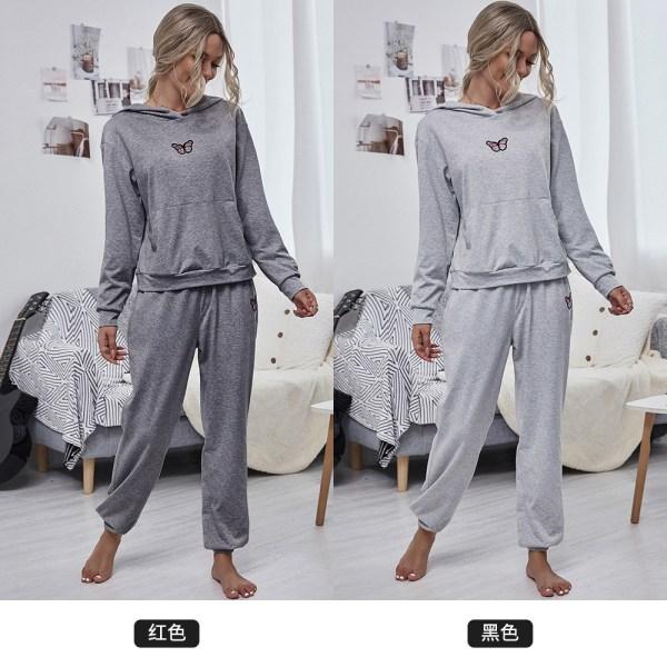 Casual Hooded Loose Sports Suit Tröja Tvådelad Set Kvinna Deep gray L