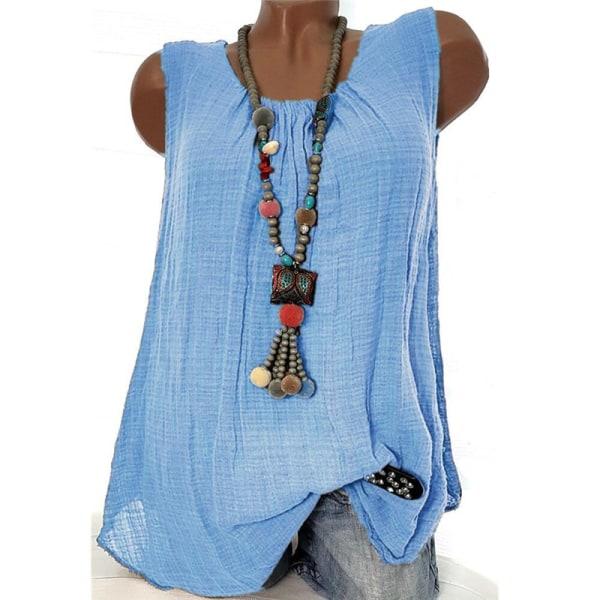 Avslappnad rund hals Enfärgad bomullslinne ärmlös T-shirt Blue M