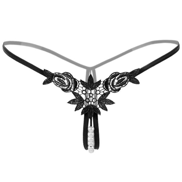 Kvinnors pärla sexiga genomskinliga T-byxor midnatt fluga-underkläder Black One size