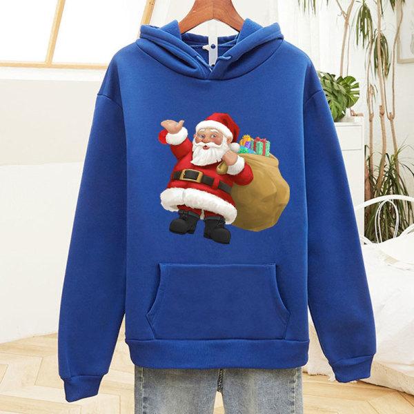 Christmas Unisex Santa Hoodie Pullover Sweatshirt Xmas Baggy Top Purple XL