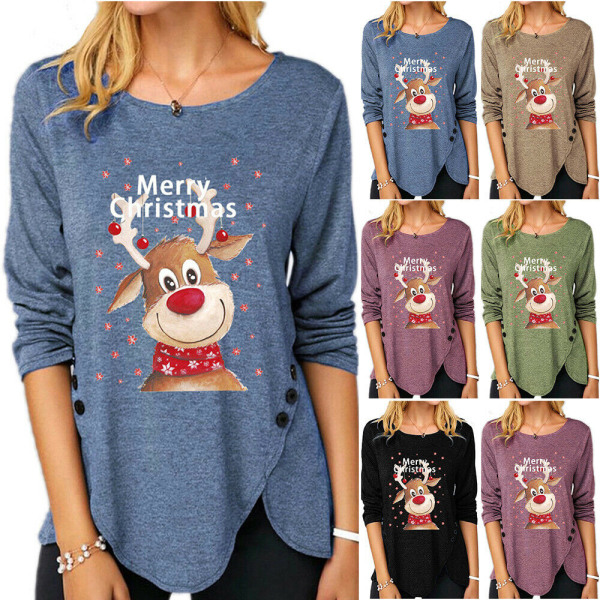 Christmas Womens Elk T-Shirts Xmas Ladies Tunika Toppar Blue 3XL