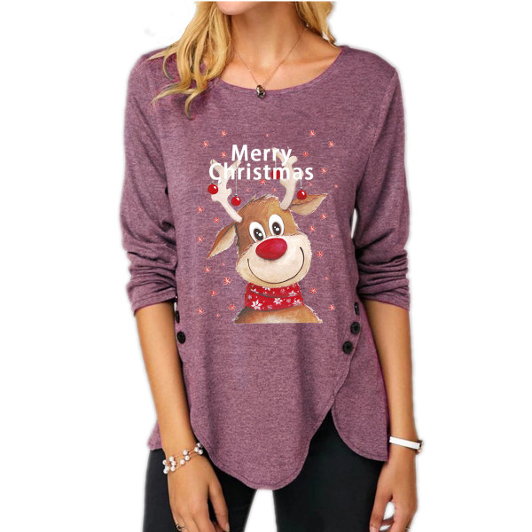 Christmas Womens Elk T-Shirts Xmas Ladies Tunika Toppar Red 4XL