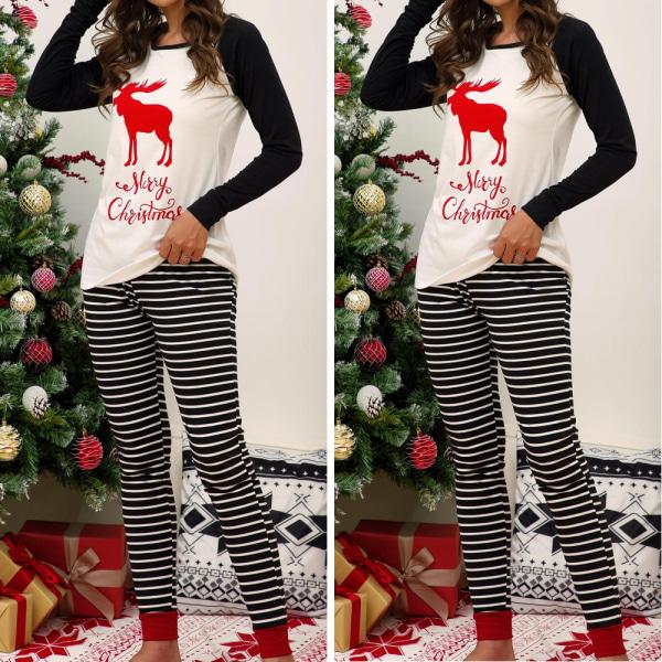 Christmas Xmas Women långärmad nattkläder Nattkläder Pyjamas Set Black XL