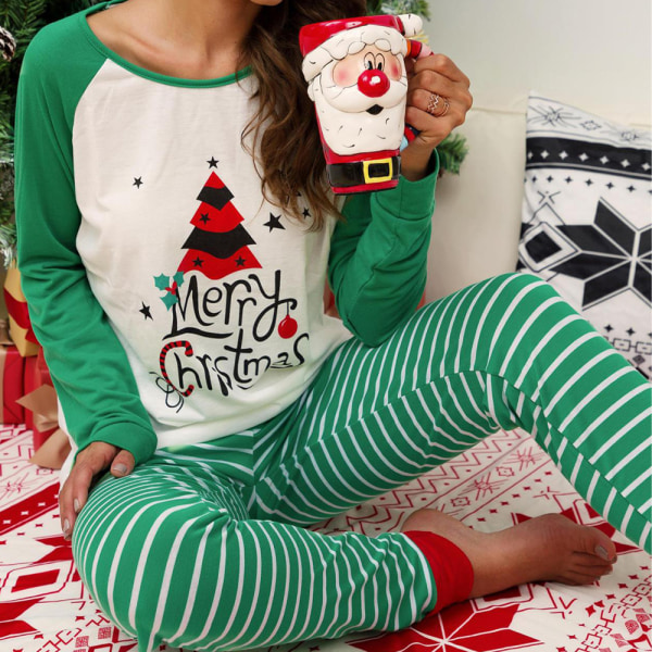 Christmas Xmas Women långärmad nattkläder Nattkläder Pyjamas Set Green L