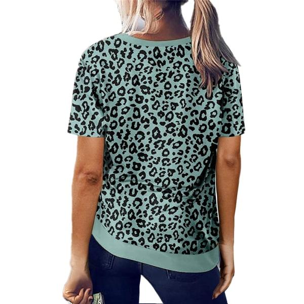 Crew Neck Leopard Print Kortärmad T-shirt Top för kvinnor Green L