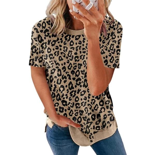 Crew Neck Leopard Print Kortärmad T-shirt Top för kvinnor Khaki 4XL