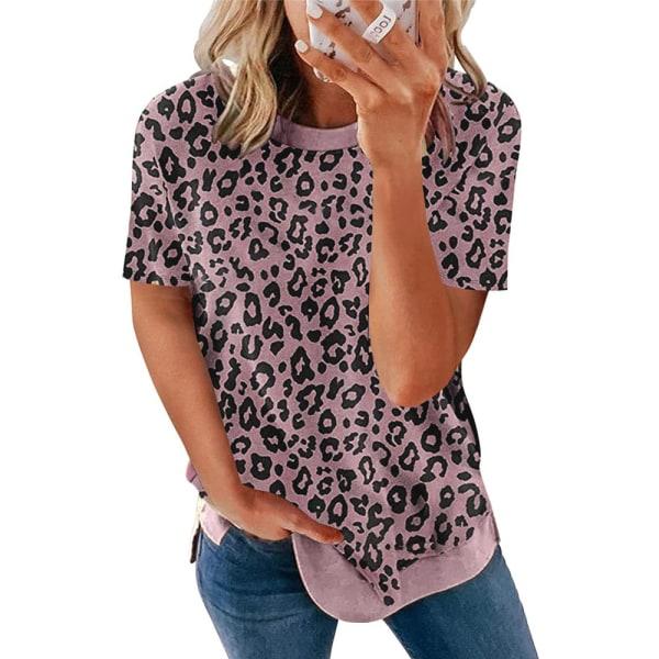 Crew Neck Leopard Print Kortärmad T-shirt Top för kvinnor Pink L