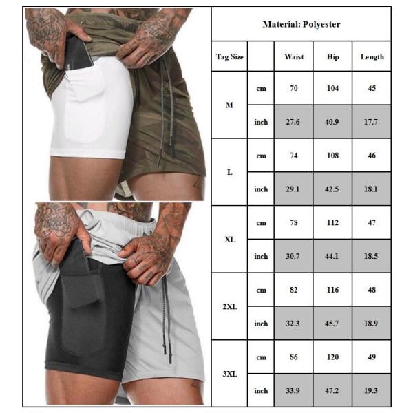 Dubbla lager yoga sportfickor shorts Black 2XL