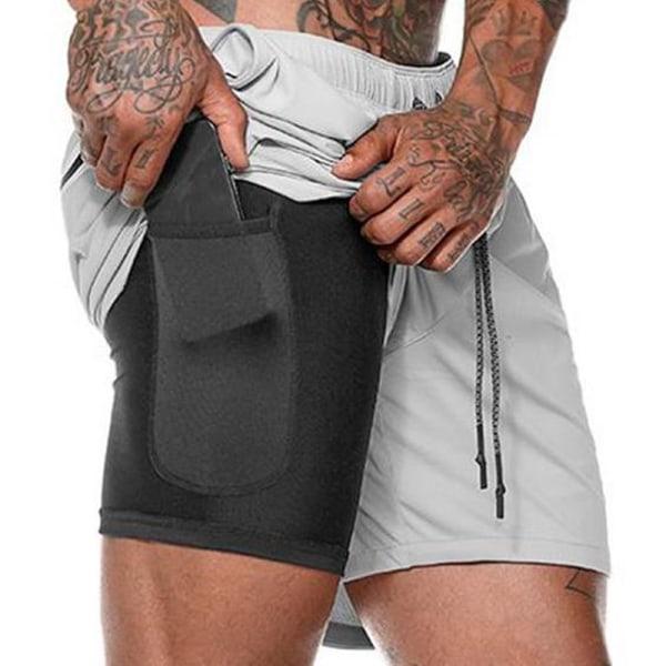 Dubbla lager yoga sportfickor shorts White Grey M