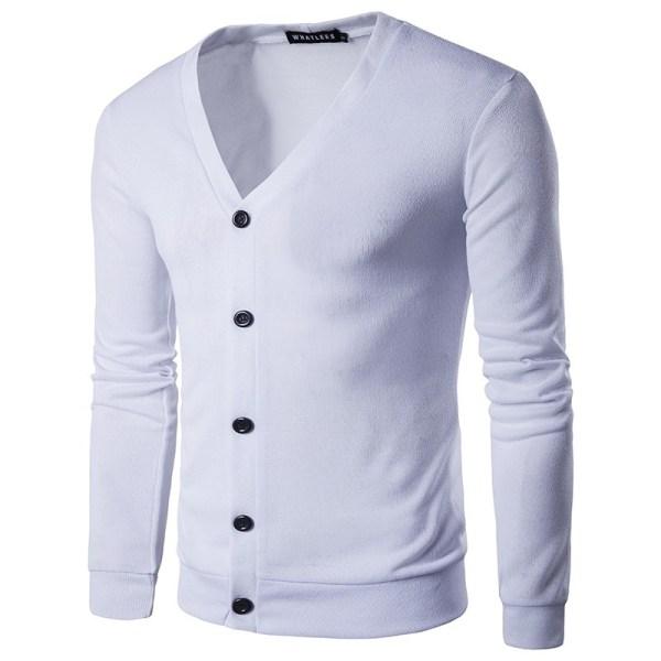 Europeiska amerikanska höstens trendiga manliga stickade tröja white 2XL