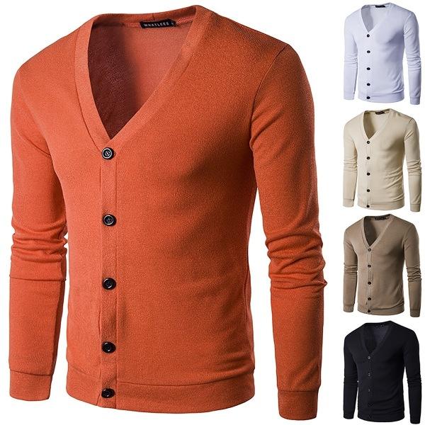 Europeiska amerikanska höstens trendiga manliga stickade tröja orange L
