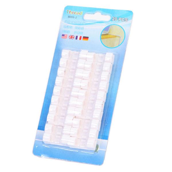 20st Självhäftande trådkabel Plastklämhållare White